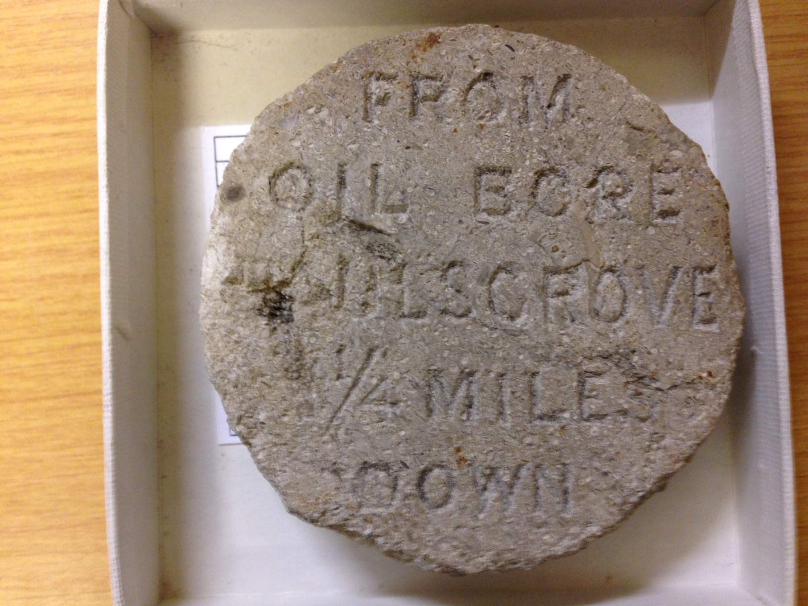 Core sample engraved with details of date and location